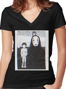 Glichy No Face - Spirited Away  Women's Fitted V-Neck T-Shirt