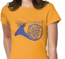 Blue french horn Womens Fitted T-Shirt