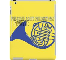 Blue french horn iPad Case/Skin