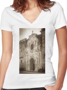 Mission San Jose Facade Women's Fitted V-Neck T-Shirt