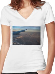 Loving the Window Seat - Sunrise Flight Over the High Mojave Desert  Women's Fitted V-Neck T-Shirt
