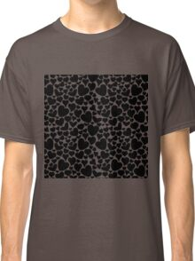 Black and White Monochrome Hearts Pattern Classic T-Shirt