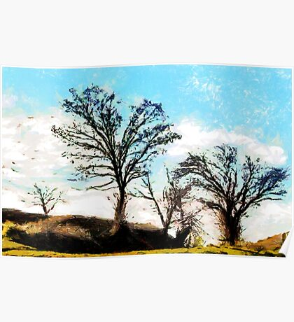 A digital painting of Trees in a Gale Poster