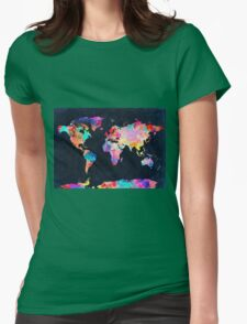 World Map watercolor 2 Womens Fitted T-Shirt
