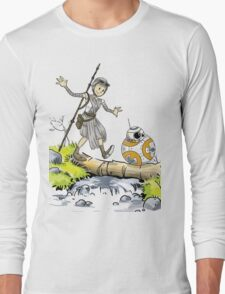 Star Wars The Force Awakens / Calvin and Hobbes- BB-8 and Rey Long Sleeve T-Shirt