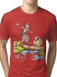 Star Wars The Force Awakens / Calvin and Hobbes- BB-8 and Rey Tri-blend T-Shirt