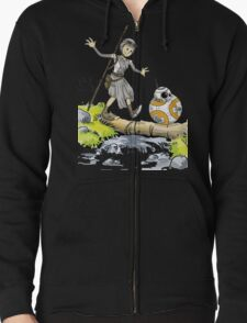 Star Wars The Force Awakens / Calvin and Hobbes- BB-8 and Rey T-Shirt