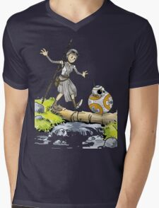 Star Wars The Force Awakens / Calvin and Hobbes- BB-8 and Rey Mens V-Neck T-Shirt