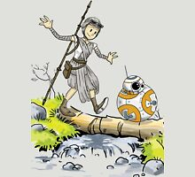 Star Wars The Force Awakens / Calvin and Hobbes- BB-8 and Rey Unisex T-Shirt