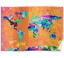 world map orange Poster