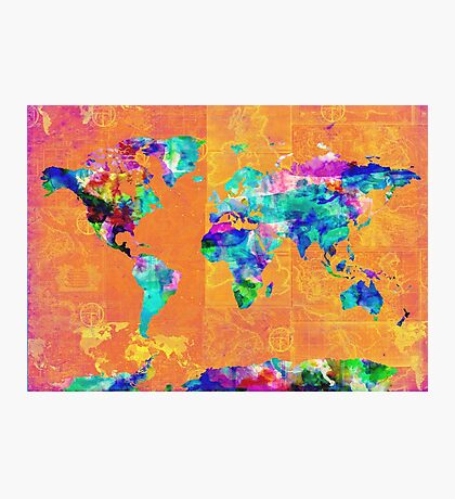 world map orange Photographic Print