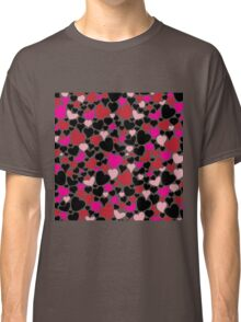 Pretty Romantic Pink Red and Black Hearts Pattern Classic T-Shirt