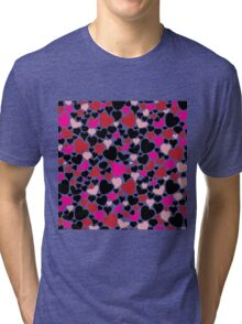 Pretty Romantic Pink Red and Black Hearts Pattern Tri-blend T-Shirt