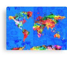 world map blue Canvas Print