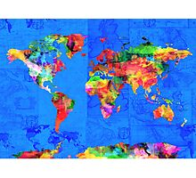 world map blue Photographic Print