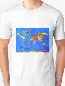 world map blue T-Shirt