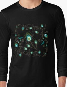 Pretty Jade and Aqua Peacock Feather Pattern Long Sleeve T-Shirt