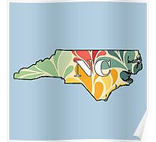 Floral North Carolina Poster