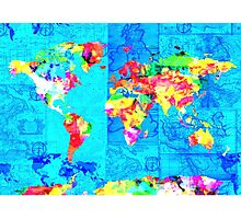 world map collage Photographic Print