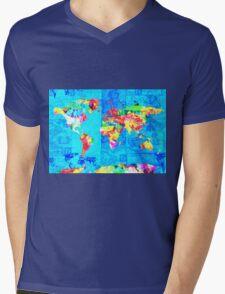 world map collage Mens V-Neck T-Shirt