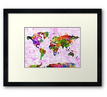 world map collage 2 Framed Print