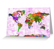 world map collage 2 Greeting Card