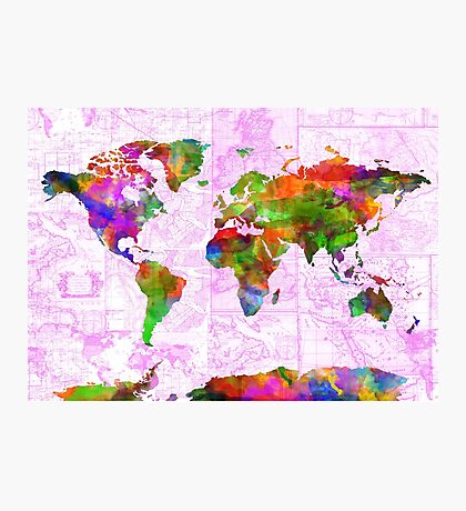 world map collage 2 Photographic Print