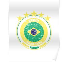 World Cup Football 1/8 - Team Brasil (distressed) Poster