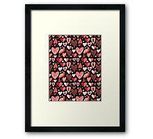 pattern of bright hearts Framed Print