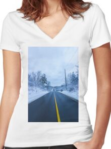 Winter Road Women's Fitted V-Neck T-Shirt