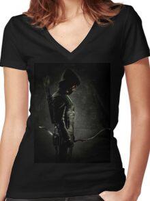 Green arrow TV Women's Fitted V-Neck T-Shirt