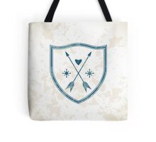 Coat of arms with crossed arrows, heart and sun symbols. Tote Bag
