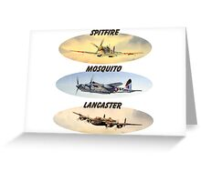 Spitfire Mosquito Lancaster Collages With Banners Greeting Card