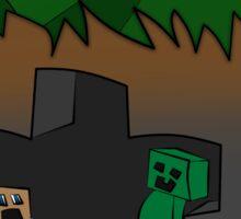 steve vs creeper minecraft Sticker