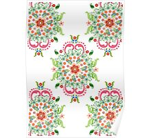 Folk Art Medallions on white Poster