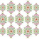 Folk Art Medallions on white by Heaven7