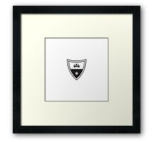 Coat of arms - shield with crown, stronghold wall and sun.  Framed Print