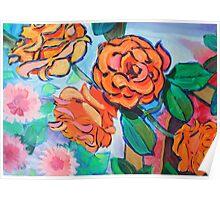 Orange Rose Bush Painting Poster