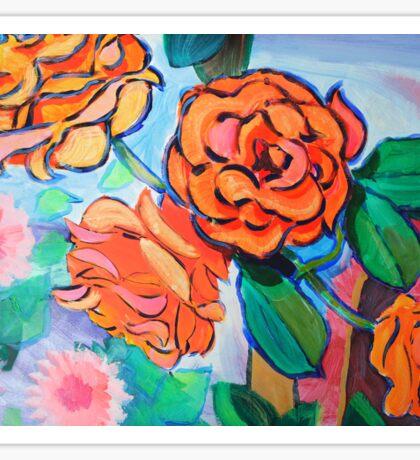 Orange Rose Bush Painting Sticker