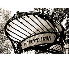 Original Metro sign and entrance, Paris Photographic Print