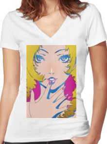 catherine beautiful eyes Women's Fitted V-Neck T-Shirt