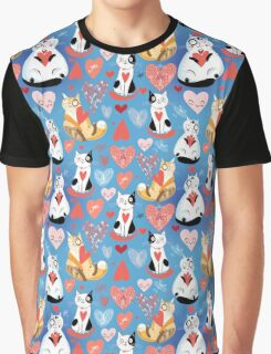 pattern of cat lovers hearts Graphic T-Shirt