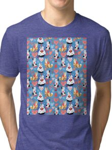 pattern of cat lovers hearts Tri-blend T-Shirt