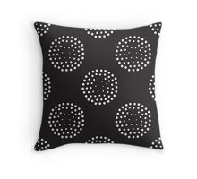 Pattern with abstract circles gradation, black and white Throw Pillow