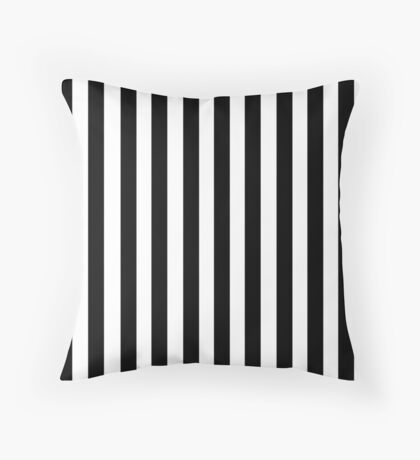 Black White Stripe Bedspread Throw Pillow