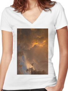 Storm Clouds Sunset - Dramatic Oranges - a Vertical View Women's Fitted V-Neck T-Shirt
