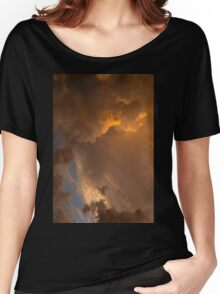 Storm Clouds Sunset - Dramatic Oranges - a Vertical View Women's Relaxed Fit T-Shirt