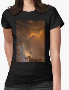 Storm Clouds Sunset - Dramatic Oranges - a Vertical View Womens Fitted T-Shirt