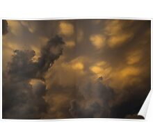 Storm Clouds Sunset - Ominous Grays and Yellows Poster