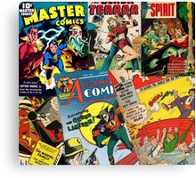Cartoon Comics Magazine Collage Retro Marvel Canvas Print